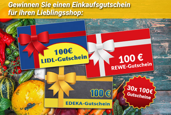 30x 100 Euro Gutschein zu gewinnen